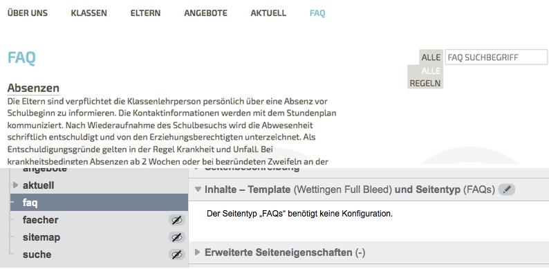 Bildschirmfoto von FAQ-Seite