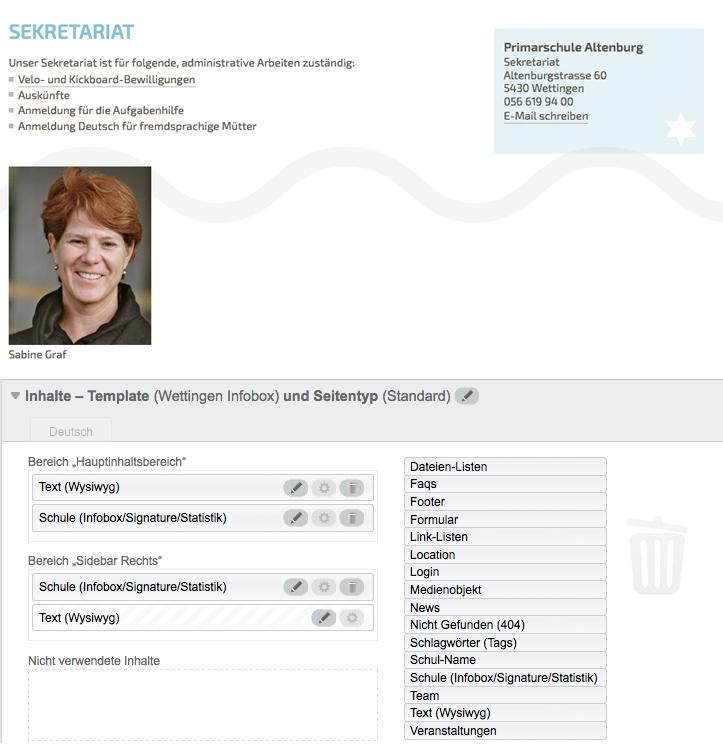 """Bildschirmfoto von Unterseiten von """"Über uns"""""""