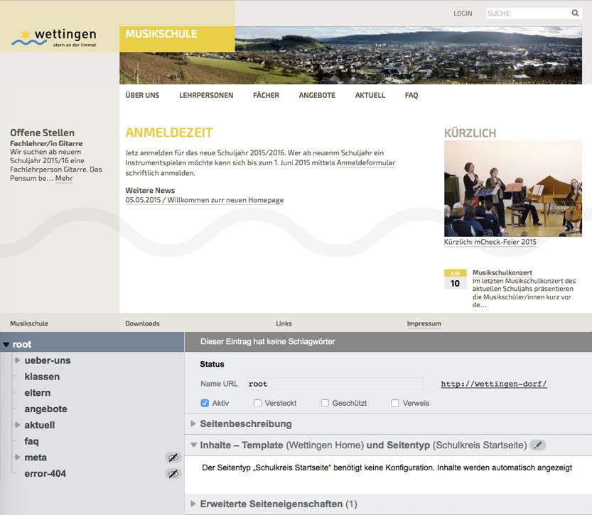 Bildschirmfoto von Schulkreis Homepage