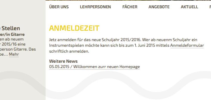 Bildschirmfoto von Schul-News - Aktuelle Texte Startseite