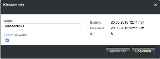 Bildschirmfoto von Extern verwaltete Kategorie