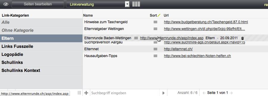 Bildschirmfoto von Einträge sortieren