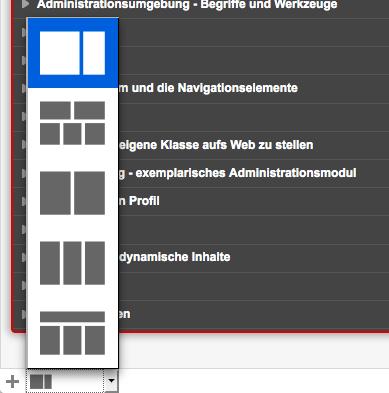 Bildschirmfoto von Dashboard-Layout wählen