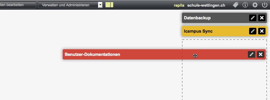 Bildschirmfoto von Dashboard-Tools verschieben