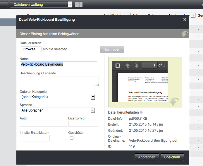 Bildschirmfoto von Dateidetail