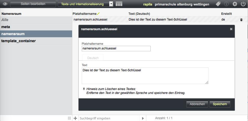 Bildschirmfoto von Beschriftungen und Standardtexte