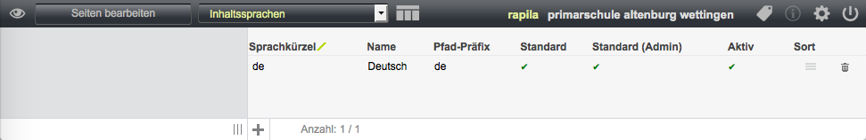 Bildschirmfoto von Inhaltssprachen verwalten