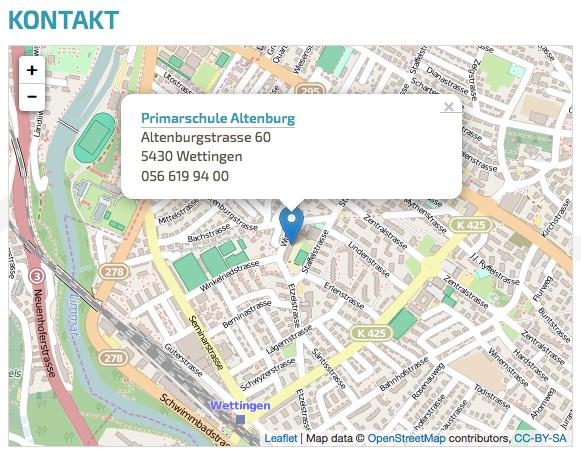 Bildschirmfoto von Standort auf der Website