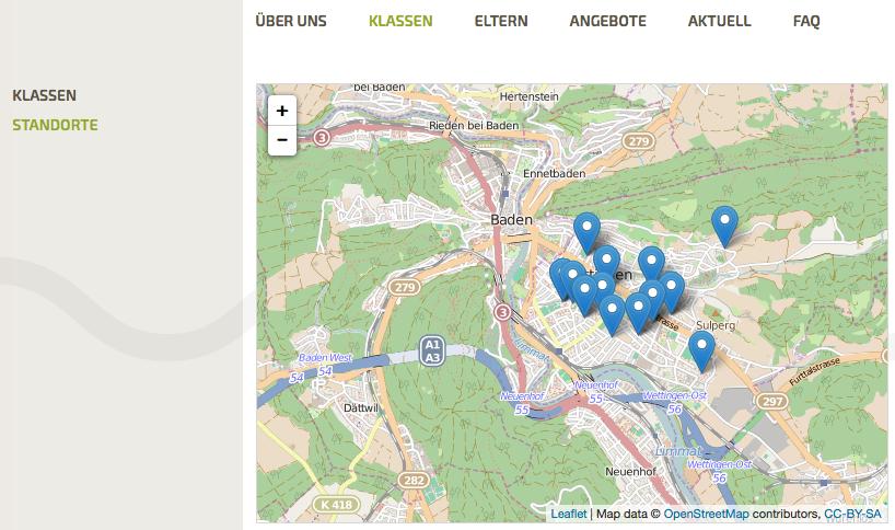 Bildschirmfoto von Standorte Kindergärten auf der Website