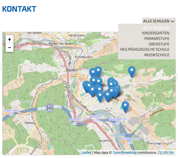 Bildschirmfoto von Standorte Portal auf der Website