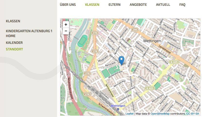 Bildschirmfoto von Standort Kindergarten (bei Klasse) auf der Website