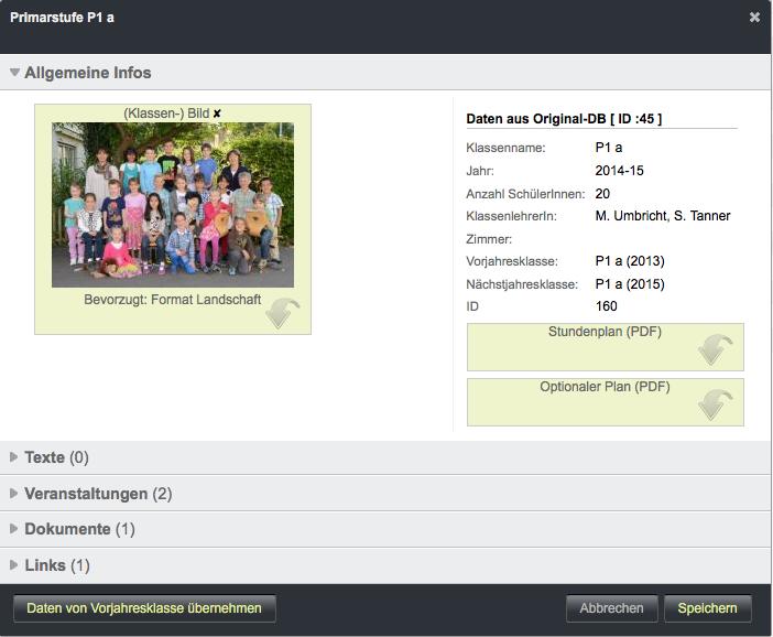 Bildschirmfoto von Daten von Vorjahresklasse übernehmen
