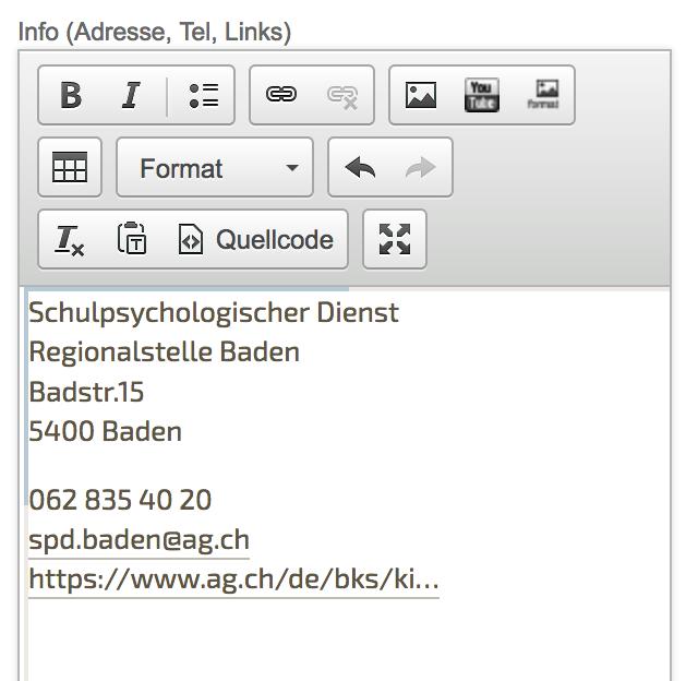Bildschirmfoto von Inhalt Kontakt Info