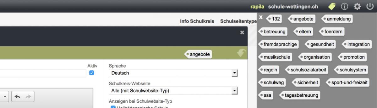Bildschirmfoto von Schlagwörter verwenden