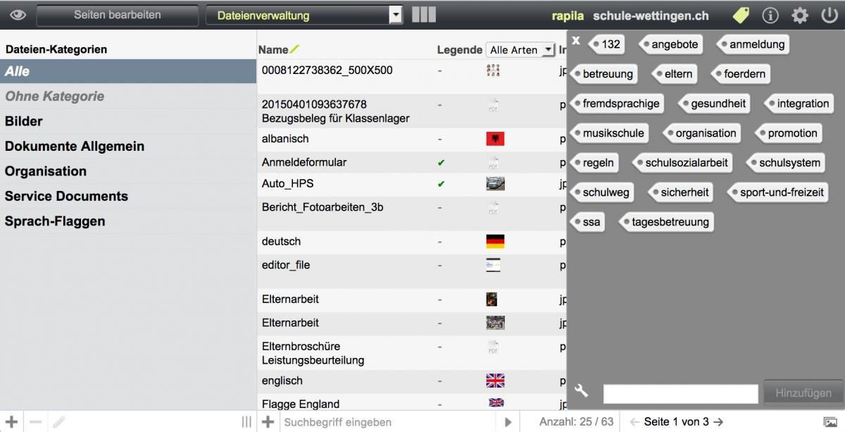 Bildschirmfoto von Schlagwörter erstellen