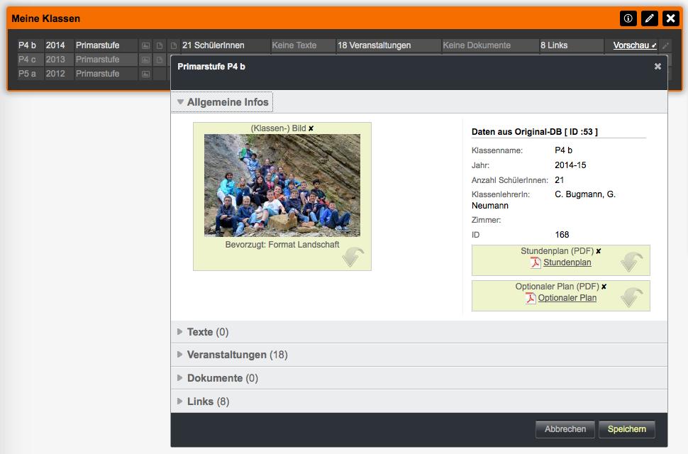 Bildschirmfoto von Detail Klasse