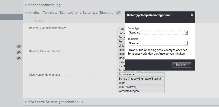 Bildschirmfoto von Seitentyp und Template konfigurieren