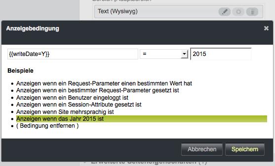 Bildschirmfoto von Anzeigebedingungen festlegen