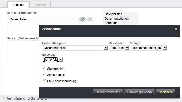 Bildschirmfoto von Dynamische Inhalte konfigurieren