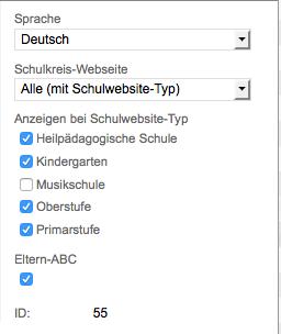 Bildschirmfoto von Optionen