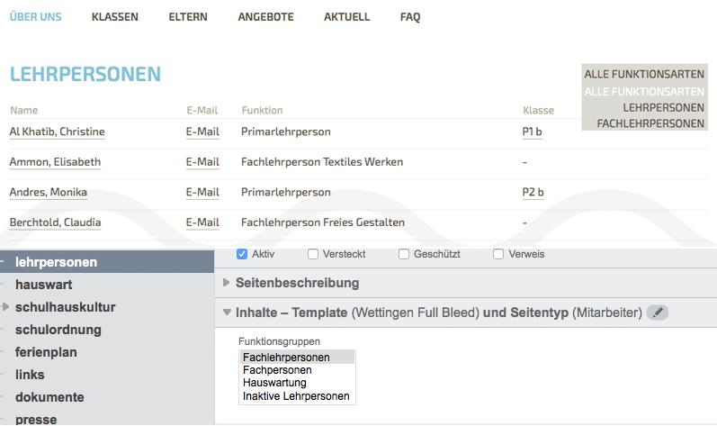 Bildschirmfoto von Mitarbeiter-Seiten
